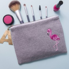 Flamingo Personalised Zip Pouch Make Up Bag Clutch