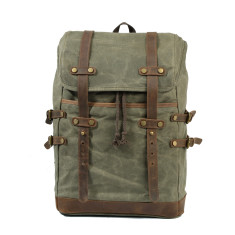Canvas Backpack/Laptop Bag With Leather Details In Green