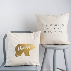 Personalised Gold Mother's Day Bear Cushion