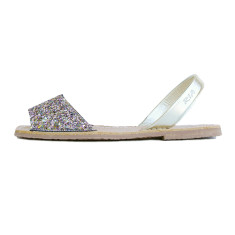 Serra leather sandals in pastell glitter