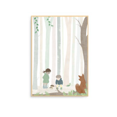 In the Forest with a Fox Nursery Wall Art Print