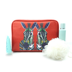 Zebra Love Red Vegan Leather Large Toiletry Wash Bag