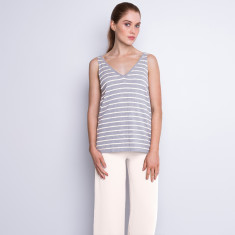 Striped cotton cashmere tank - white/grey