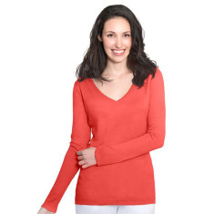 Silk Cashmere V Neck Sweater with Pointelle Detail - Coral