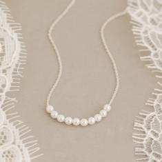 Delicate Sterling Silver Pearl Cluster Necklace