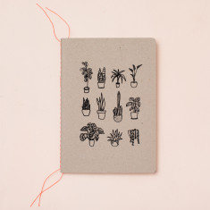 Pot plants notebook in black
