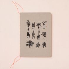 Pot plants notebook in black