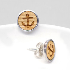 Wooden anchor stud earrings