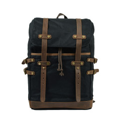 Black Canvas Backpack/Laptop Bag With Leather Details