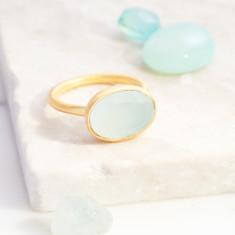Roman Ring With Aqua Chalcedony