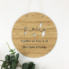 Family Simple Script Personalised Round Wall Hanging