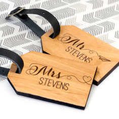 Personalised Wooden Mr & Mrs Honeymoon Luggage Tags