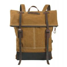 Canvas backpack with leather buckle in tan