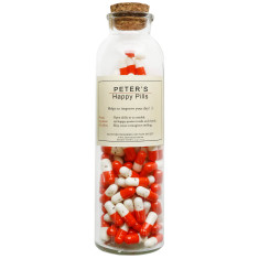 Bottle of 100 happy day pills with personalised label