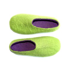 Women's wool felted slippers in green & purple (various sole colours)