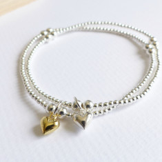 Sterling silver beaded tiny gold heart bracelet