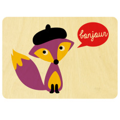 French Mr fox wooden postcard