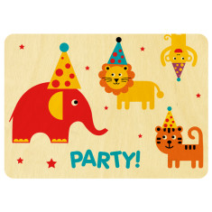 Zoo party wooden postcard