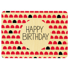 Happy birthday wooden postcard
