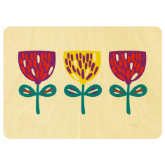 Nordic flowers in a row wooden card