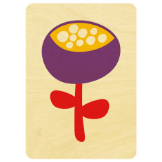 Purple flower wooden card