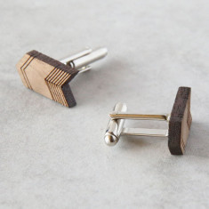 Arrow detail solid timber cufflinks