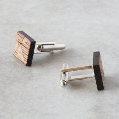 Square geometric solid timber cufflinks