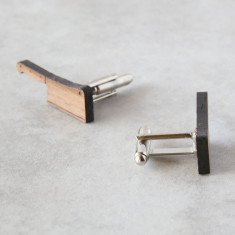 Chef knife cufflinks in solid timber