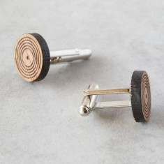 Record cufflinks in solid timber