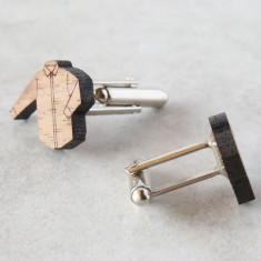Shirt cufflinks in solid timber