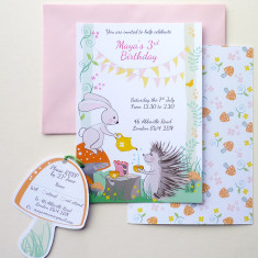 Woodland party invitation with RSVP tag (set of 10)