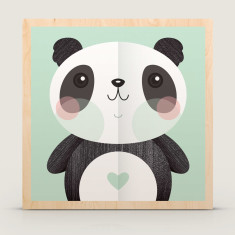 Love & peace panda wood block print