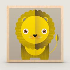 Roar wood block print