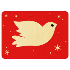 Christmas dove wooden card