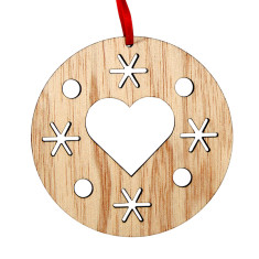 Wooden Christmas heart decoration