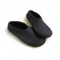 Men's felted slippers in black (various sole colours)