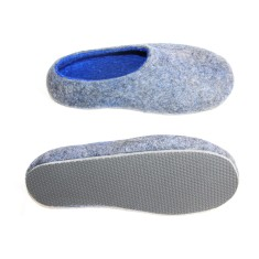 Men's felted shoes in grey blue