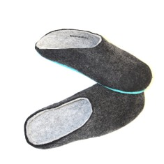 Men's felt slippers in charcoal (various sole colours)
