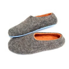 Women's felt slippers in tangerine (various sole colours)