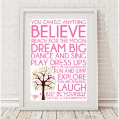 Words for girls print