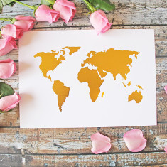 World map gold foil print