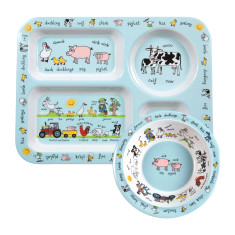 Tyrrell Katz Farmyard Melamine Compartment Tray and Bowl Set