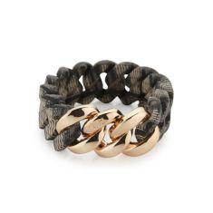Woven bracelet in scarf desert sand and soft gold