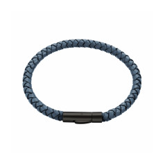 Men's woven leather bracelet in storm blue