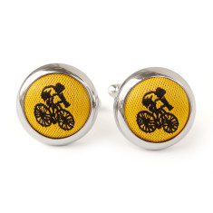 Yellow cyclist cufflinks