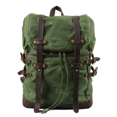 Green Canvas Waterproof Backpack/Laptop Bag With Leather Details
