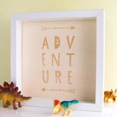 Adventure Wood Print Box Frame