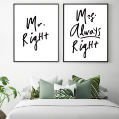 Mr & Mrs Right print (set of 2)
