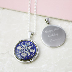 Sixpence 60th Enamel Coin Necklace Pendant