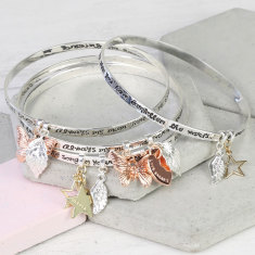 Silver Always My Mum Charm Bangle with Name